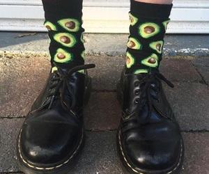 avocado, black, and dr martens image