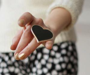 heart, ring, and black image