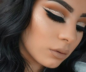beauty, glitter, and brows image