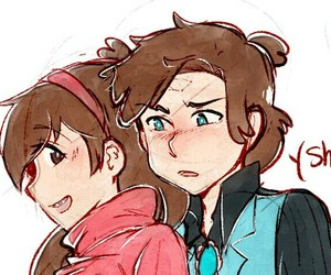 gravity falls, mabel pines, and dipper gleeful image