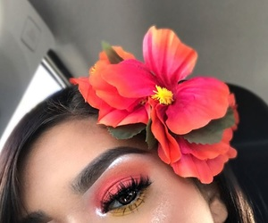 makeup, style, and flowers image