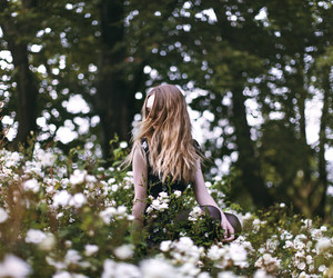flowers, forest, and girl image