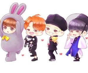 bts, chibi, and bangtan boys image