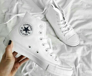 aesthetics, blackwhite, and converse shoes image