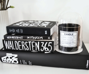book, candle, and interior image