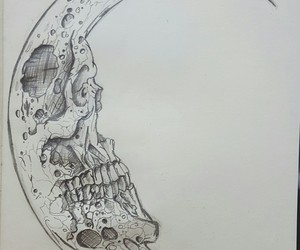 draw, evil, and moon image