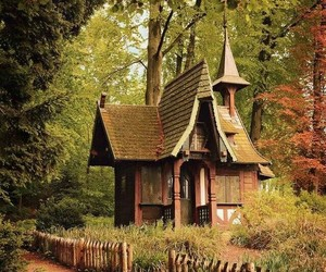 house, forest, and cottage image