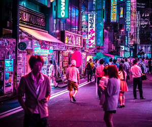 neon, city, and japan image