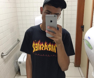 glasses, hat, and thrasher image