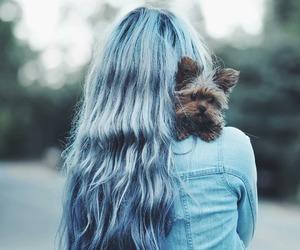 girl, dog, and blue image