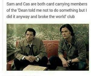 supernatural, sam winchester, and castiel image