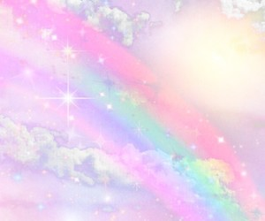 clouds, graphic design, and rainbow image