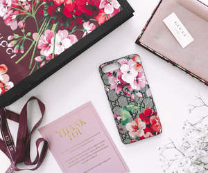 floral, gucci, and iphone image