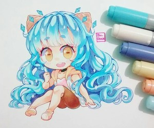 anime girl, blue hair, and chibi image