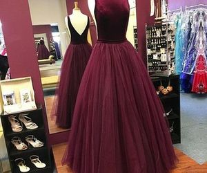 ball gown, burgundy, and open back image