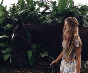 girl, green, and horse image