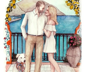 couple, engagment, and illustration image