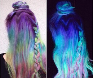 colored hair, hair dye, and hair image