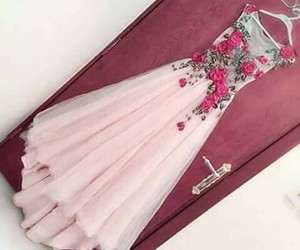 dress, pink, and roses image
