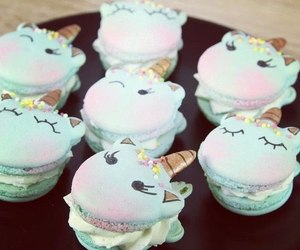 unicorn, blue, and cakes image
