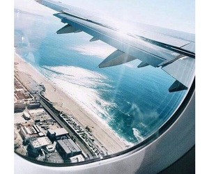 travel, beach, and plane image