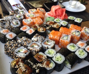 sushi, food, and rolls image