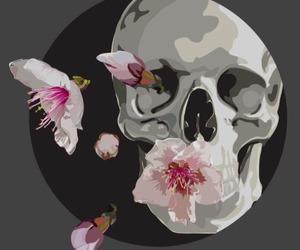 flower, flowers, and skull image