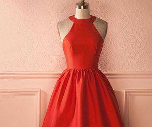 red prom dress, short prom dresses, and halter prom dress image