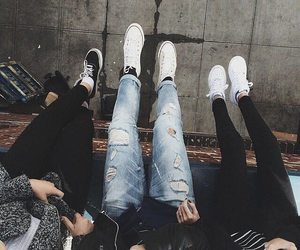 friends, jeans, and shoes image