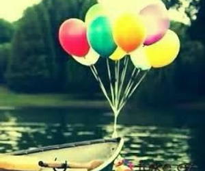 balloons, boat, and lake image