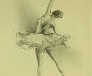 art, ballerina, and drawing image