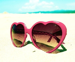 beach, heart, and sunglasses image