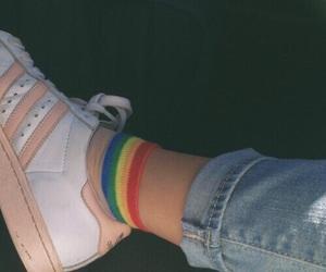 rainbow, adidas, and aesthetic image