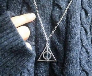 harry potter, deathly hallows, and necklace image