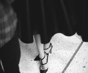 fashion, shoes, and black and white image