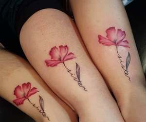 sisters, tattoo, and flowers image