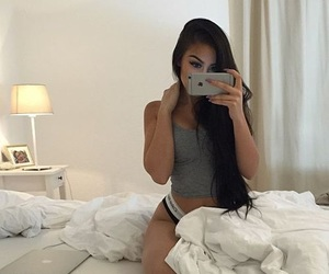 girl, beauty, and bed image