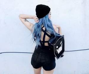 alternative, backpack, and blue hair image