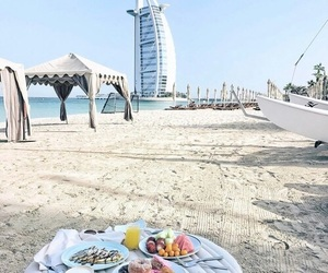 beach, Dubai, and morning image