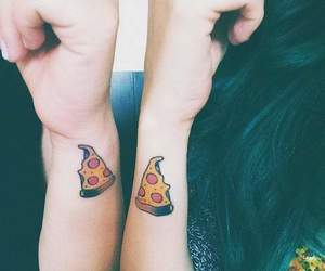 pizza, tattoo, and friendship image