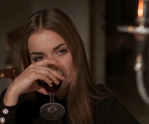girl, wine, and movie image