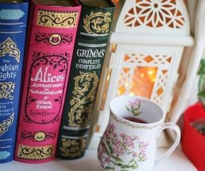 book, tea, and alice image