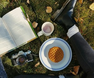 book, camera, and food image