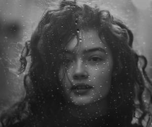 black and white, portrait, and rain image