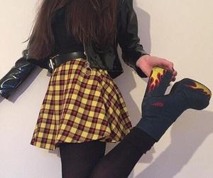 yellow, skirt, and black image