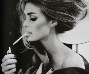 smoke, black and white, and cigarette image