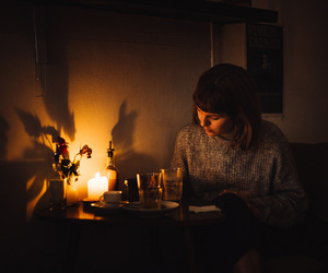 cafe, candle, and coffee shop image