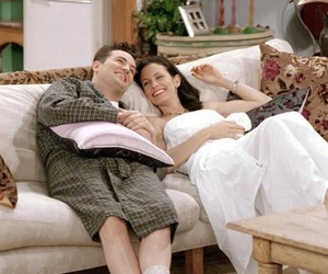 chandler bing, monica geller, and friends image