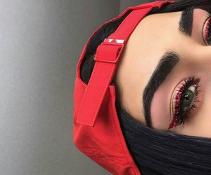makeup, eyebrows, and red image