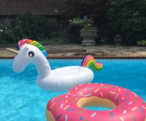 pool, rainbow, and unicorn image